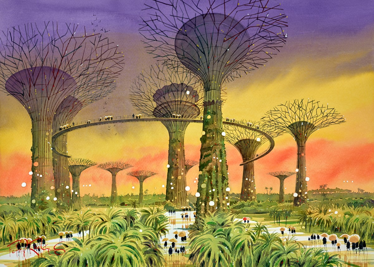 Gardens By the Bay, Singapore by Peter J Rodgers -  sized 28x20 inches. Available from Whitewall Galleries